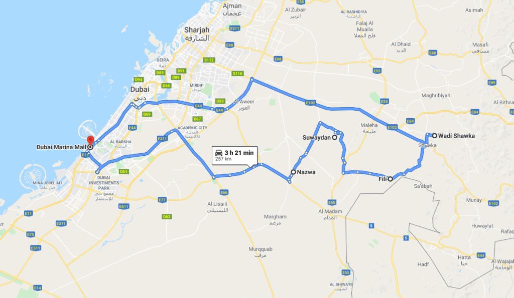Route of Nazwa & Shawka Group Desert Tour | Dubai Premium Tours
